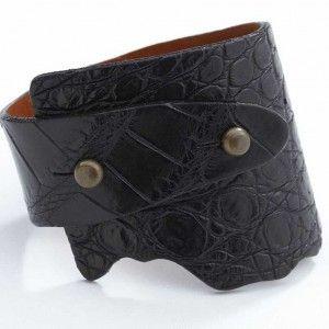 Alligator Genuine Wide Wrap Leather Bracelet - Black Color
