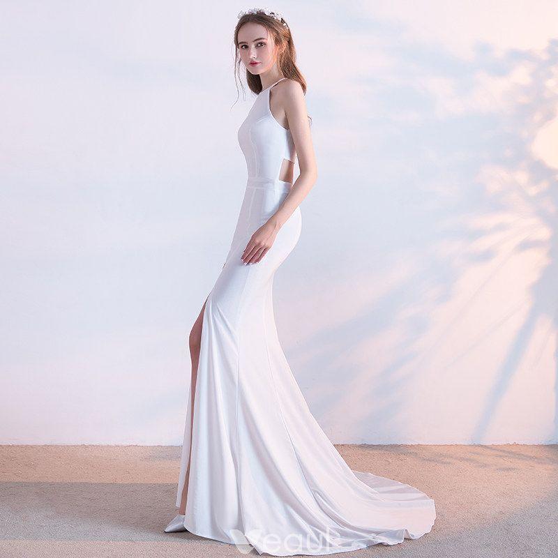 Modest / Simple White Evening Dresses 2018 Trumpet / Mermaid Scoop ...