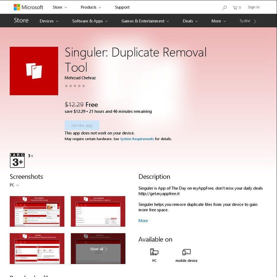 Free Windows 10 App: Singuler: Duplicate Removal Tool (Was