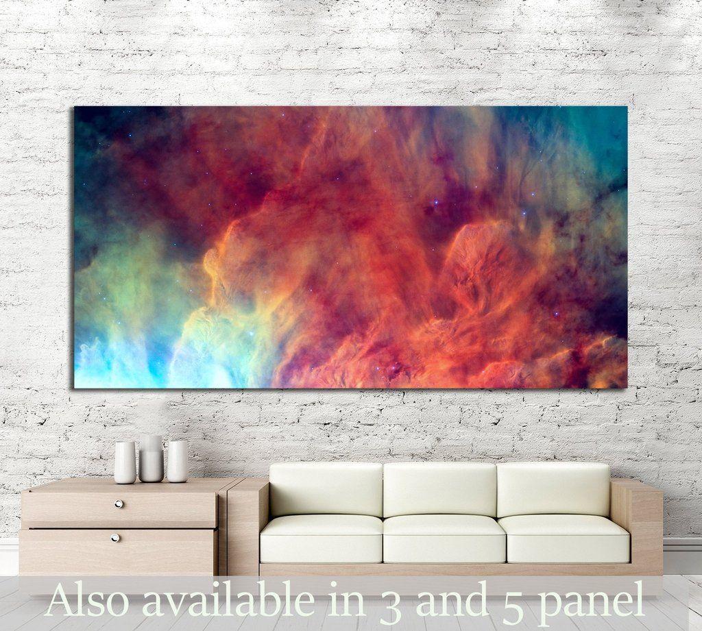 Waves Breaking In The Stellar Lagoon Nebula Or Emission Nebula Messier 2558 Framed Canvas Print Watercolor Wall Art Oversized Wall Art Framed Canvas Art