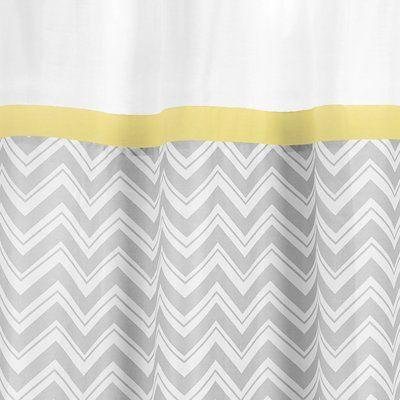 Amazon.com: Yellow And Gray Zig Zag Kids Bathroom Fabric Bath Shower Curtain  By