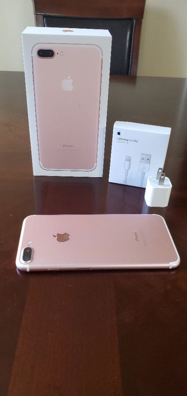 Used rose gold iPhone 7 plus with box for sale in