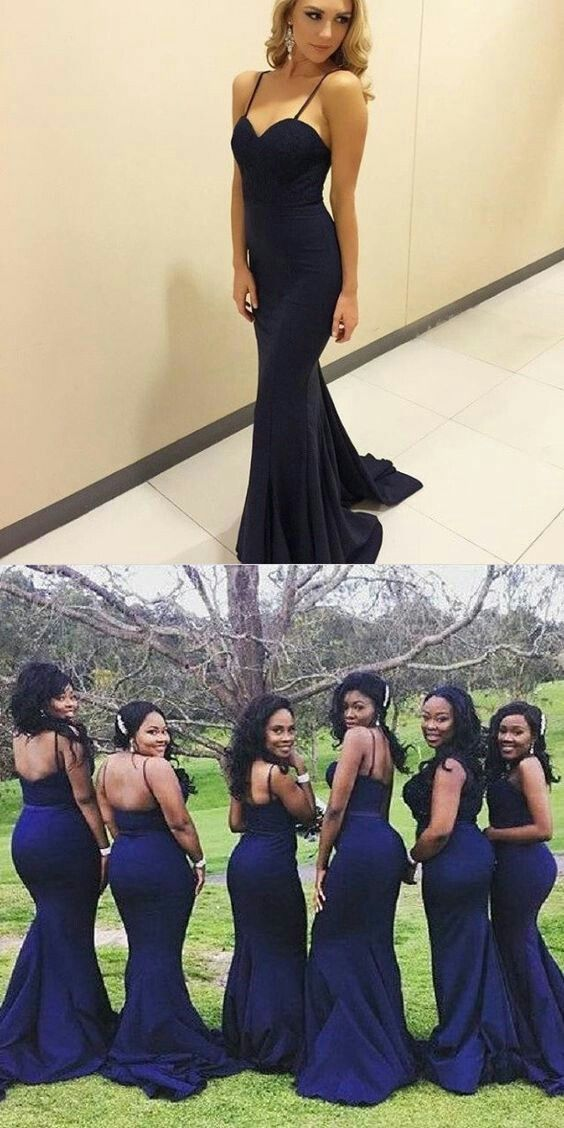 a46f8d37f1a 2017 African Elegant Spaghetti Navy Blue Mermaid Bridesmaid Dresses Sexy  Sweetheart Sweep Train Satin Long Wedding Party Gown