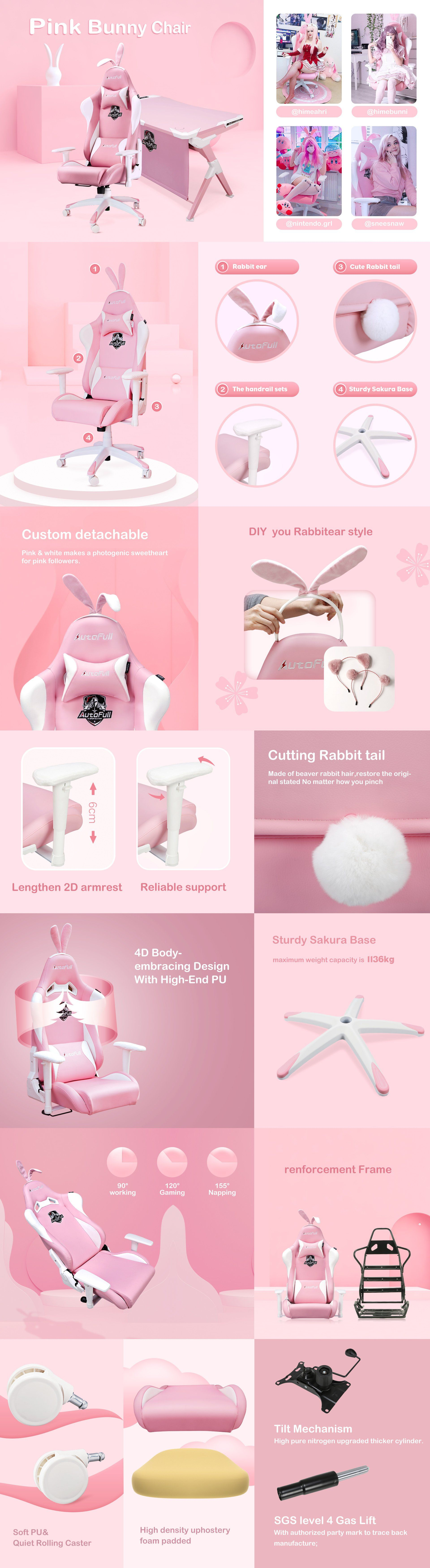 AutoFull Pink Gaming Chair With Bunny in 2020 Gaming