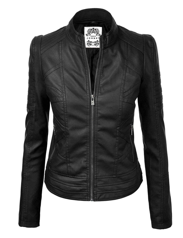 MBJ Womens Faux Leather Zip Up Moto Biker Jacket With