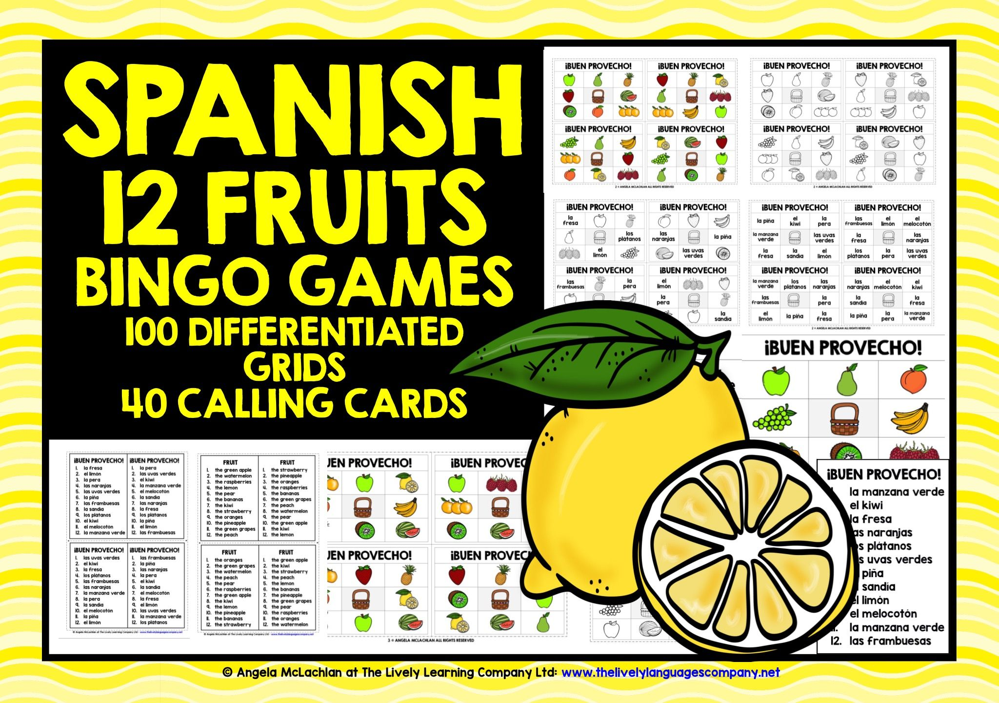 Primary Spanish Spanish Fruits Bingo