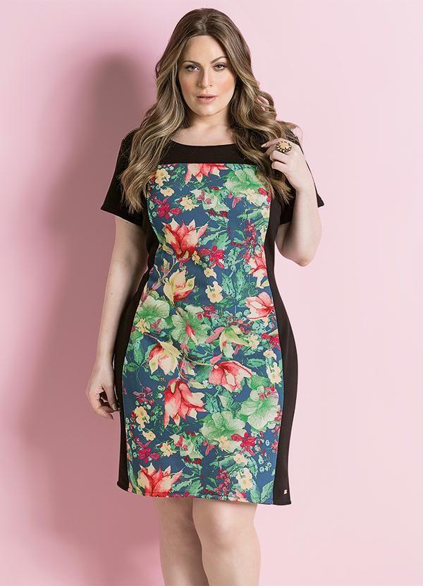 02065e5e5 Vestido Tubinho Floral Plus Size - Posthaus | Oufits | Big size ...