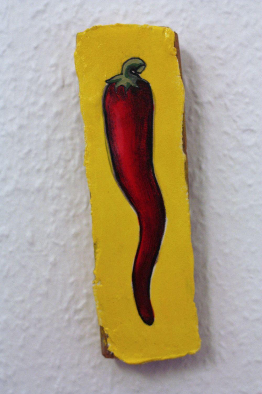 Red & Yellow Hot Chili Pepper Wood Kitchen Art by IslandGirlBerlin ...