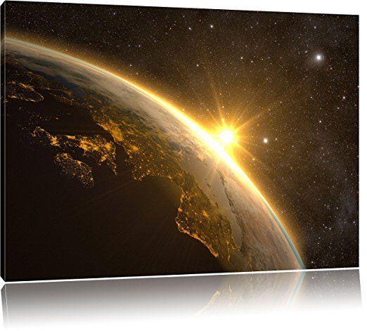 Die Sonne und Erde im Weltall, Format 60x40 auf Leinwand, - Bilder