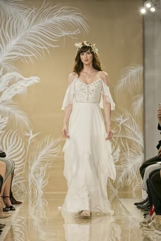 Talia - #895001 - Ivory silk chiffon handkerchief hem gown with fly ...