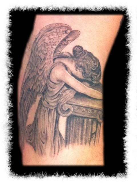 black and grey tattos angels | Weeping Willow Tattoo ...Weeping Willow Black And White Tattoo
