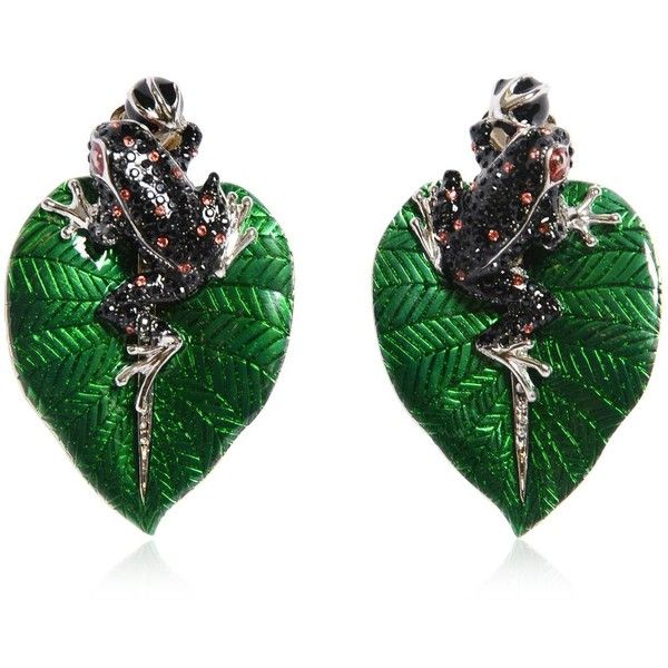 ROBERTO CAVALLI Frog Earrings With Swarovski Crystals ($965) ❤ liked on Polyvore featuring jewelry, earrings, accessories, red and black jewelry, roberto cavalli, leaves earrings, swarovski crystal jewellery and black and red earrings