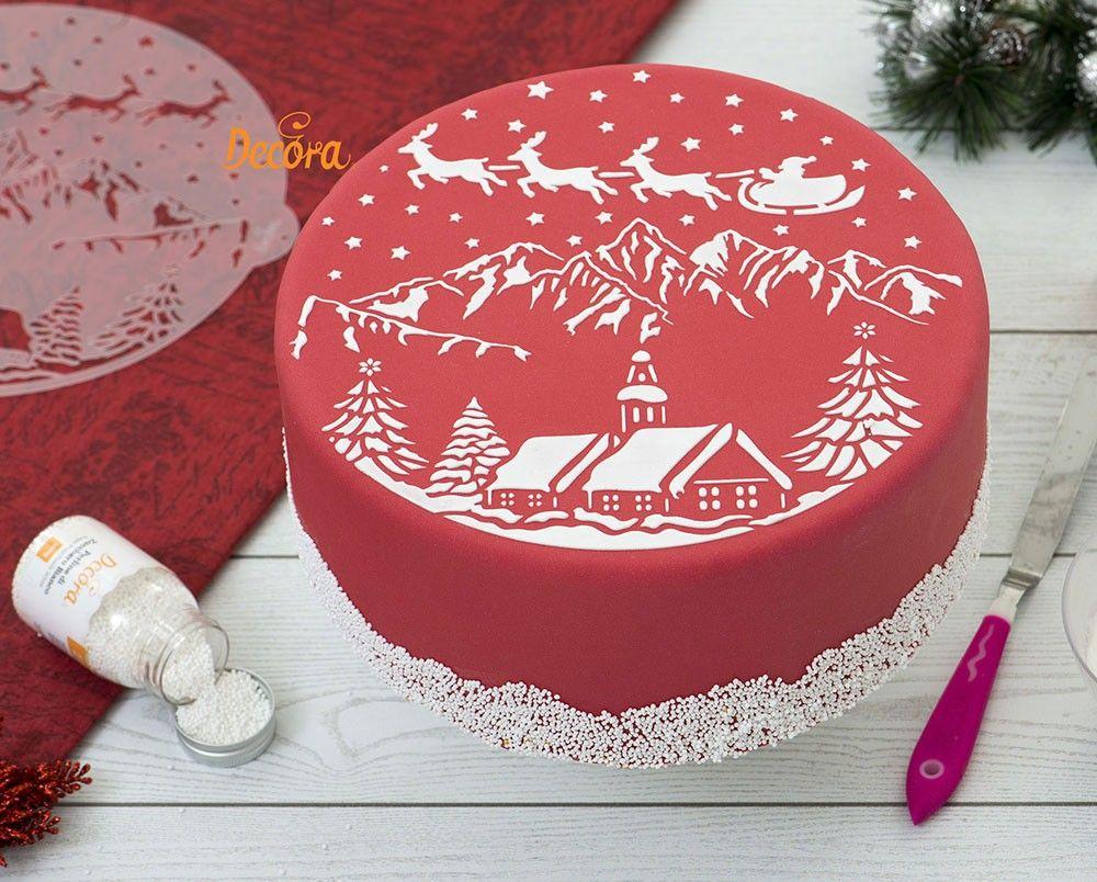 Stencil con diseño de paisaje de Navidad. Los stencils son ...