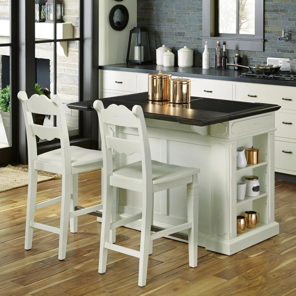 Home Styles Fiesta Weathered White Kitchen Island With Seating 5076 948 The Home Depot Kitchen Tops Granite Contemporary Kitchen Island White Kitchen Island