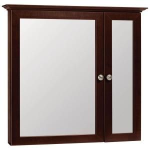 Glacier Bay 31 in. x 29 in. Surface-Mount Mirrored Medicine Cabinet in Java-B30-JAV at The Home Depot