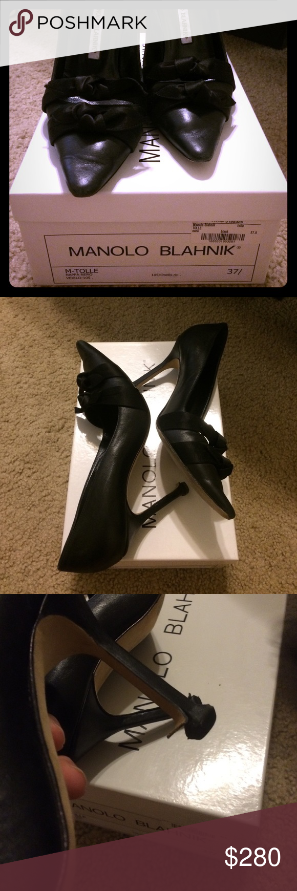 Manolo Classic pumps Classic Manolos. Have loved them but have to make space! Double bows at the bottom, 4 inch heel, black. Made in Italy. Size 37.5 (7.5) One heel could use a little glue. Includes box and dust bag which are in perfect condition Manolo Blahnik Shoes Heels