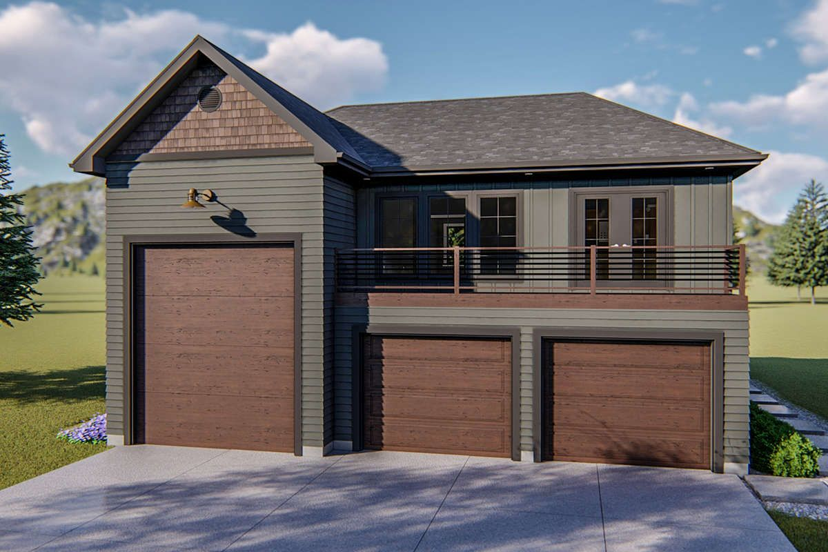 House Plan 963 00362 Traditional Plan 1 144 Square Feet 1 Bedroom 1 5 Bathrooms In 2020 With Images Garage Door Design Craftsman House Garage House Plans