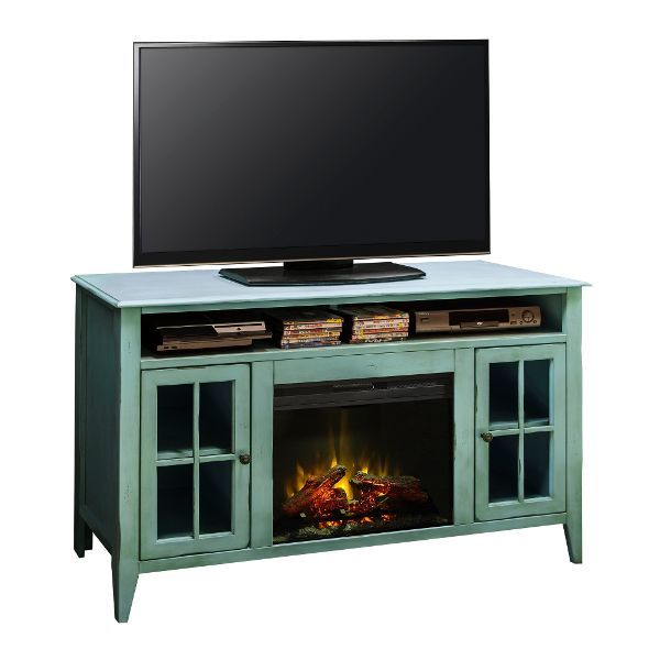 60 Inch Blue Fireplace And Tv Stand Calistoga Electric