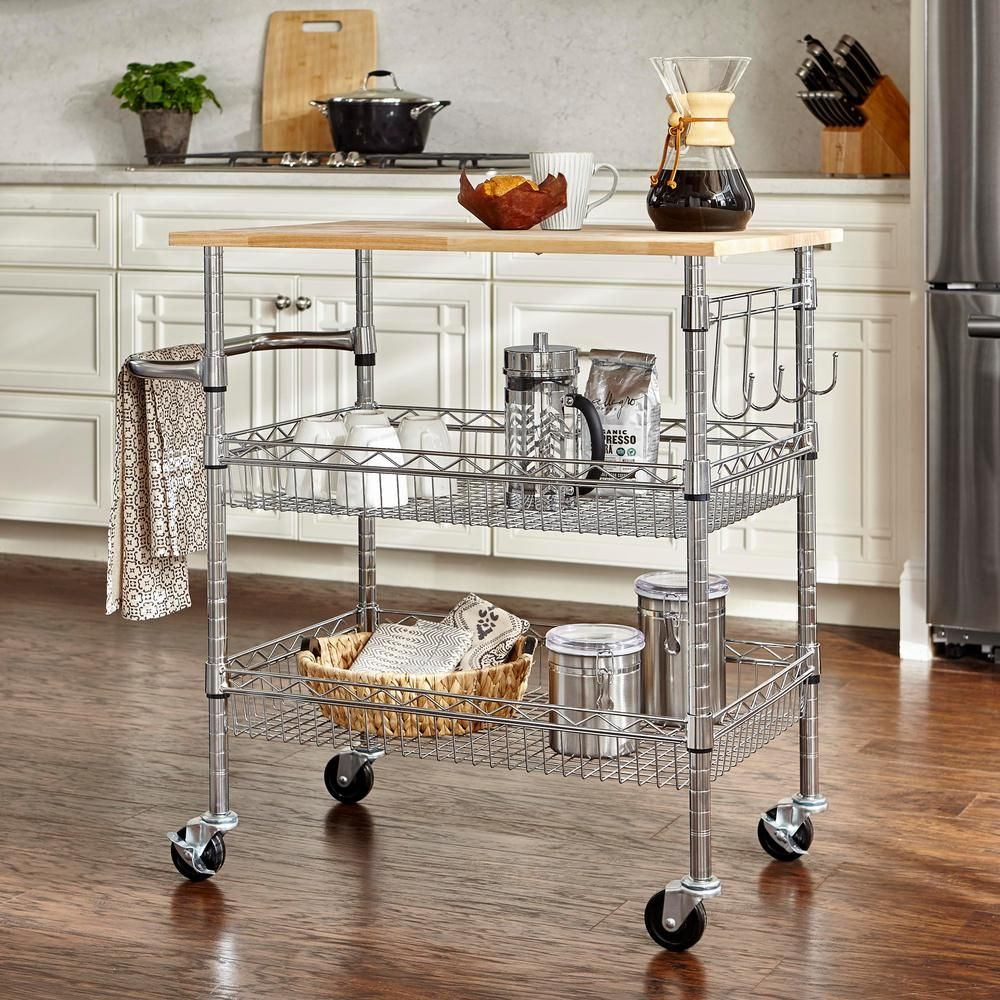 Stylewell Gatefield Chrome Kitchen Cart With Natural Wood Top