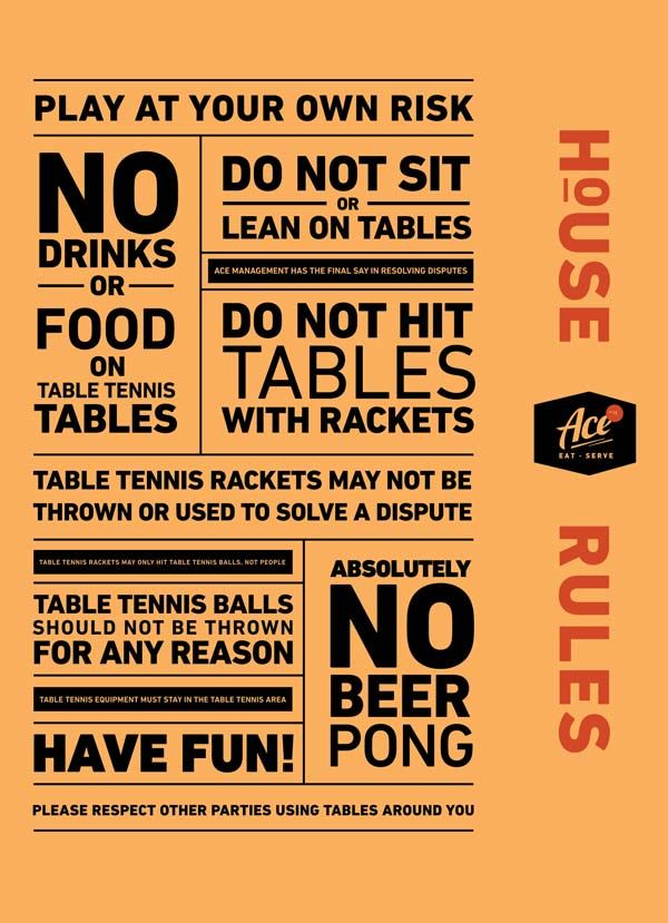 Ping Pong House Rules Ace Denver Identity Branding By