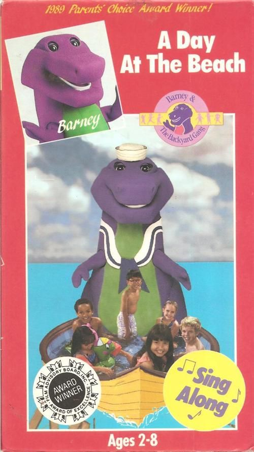 Barneyadayatthebeachvhs1990.jpg | Barney & friends, 90s ...