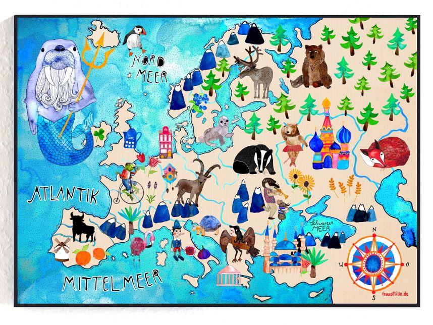 Europakarte von Frau Ottilie europa landkarte