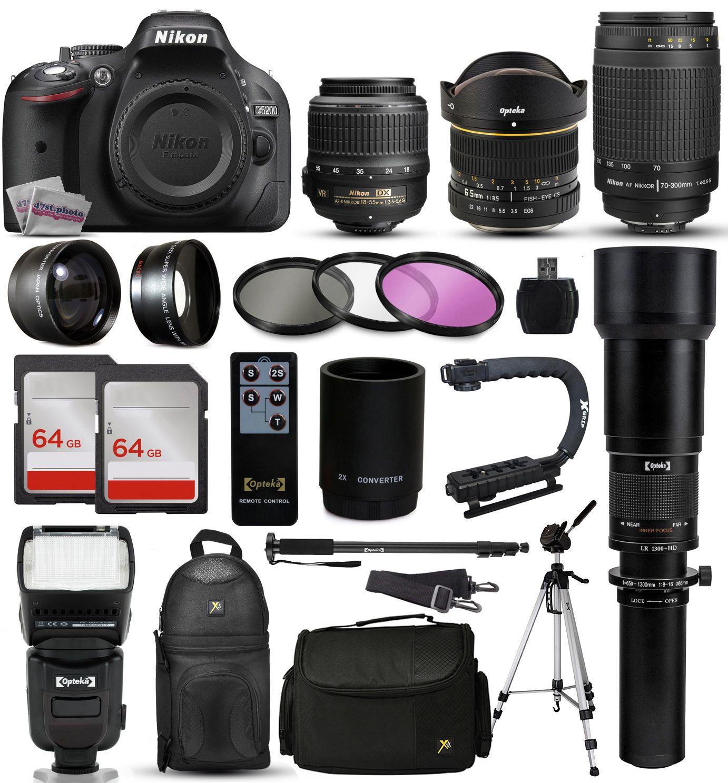 Nikon D5200 Dslr Digital Camera 18 55mm Vr 6 5mm Fisheye 55 300mm Vr 650 2600mm Lens Filters 128gb Memory Action Stabilizer I Ttl Autofocus Flas Dslr Camera Nikon Digital Slr Camera