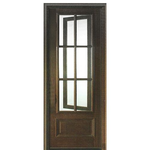 Dsa Doors Breezeport Tdl 6lt E 01l 6 Lite Mahogany Entry Door With Built In Screen And Operable Window Attached On The Right