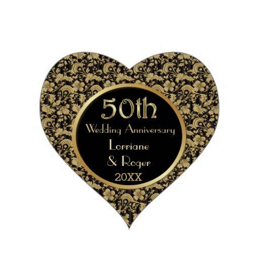 gold floral elegance 50th wedding anniversary heart sticker floral
