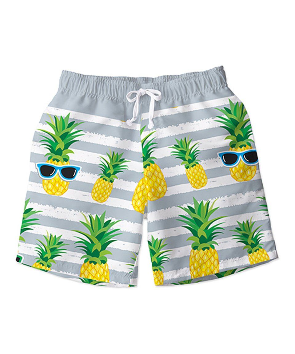9ee23af494 Take a look at this Gray & Yellow Stripe Pineapple Swim Trunks - Toddler & Boys  today!