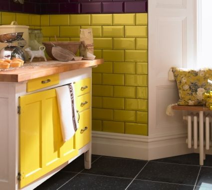 Love the colored subway tiles
