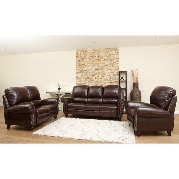 Abbyson Living Madison Premium Grade Leather Pushback Reclining Sofa Set    Overstock™ Shopping   Big