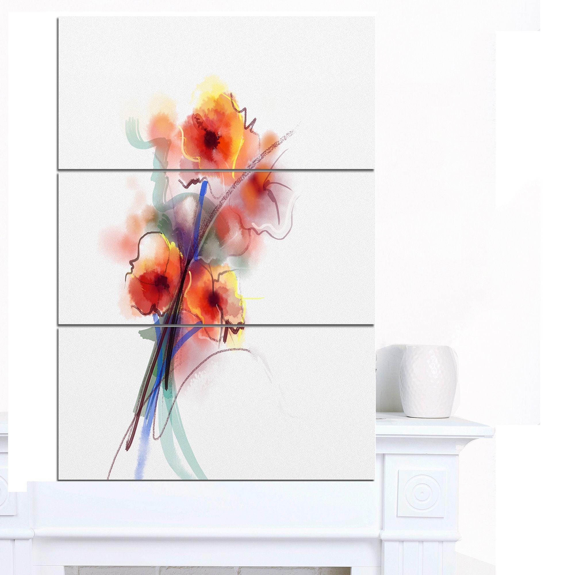 Designart 'Soft Color Flowers on Background' Modern Floral Wall Art Canvas
