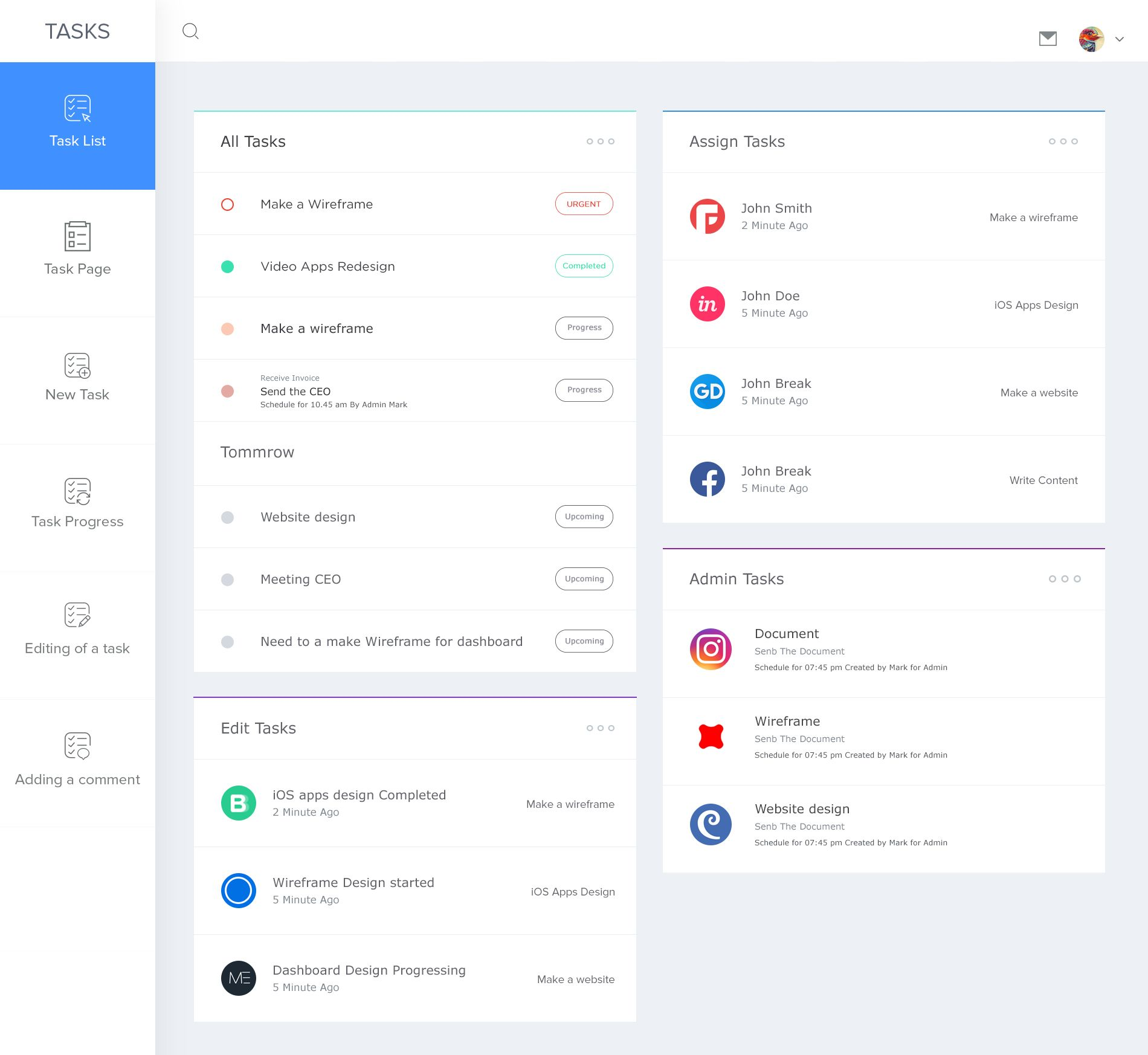 Task List Dashboard  User Interface By Masudur Rahman Joy