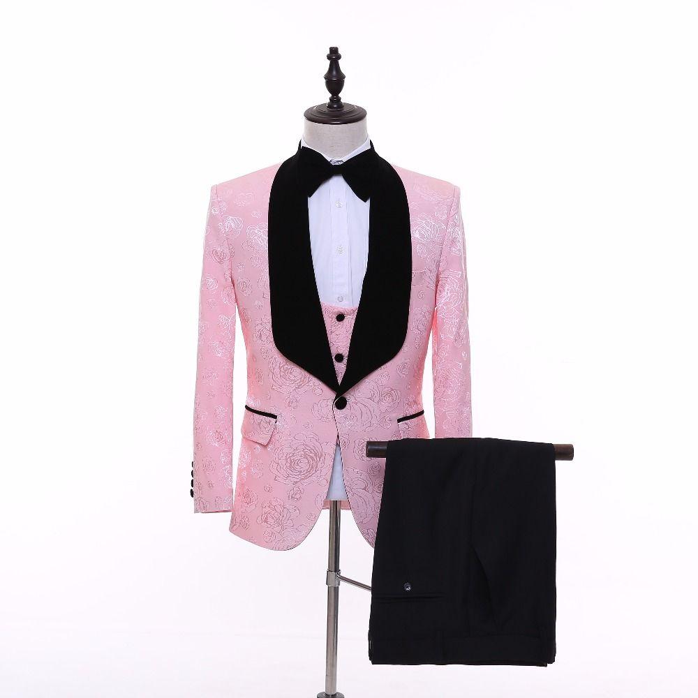 New brand pink Men Wedding Suit Patterns Tuxedo Stage Show Singer ...