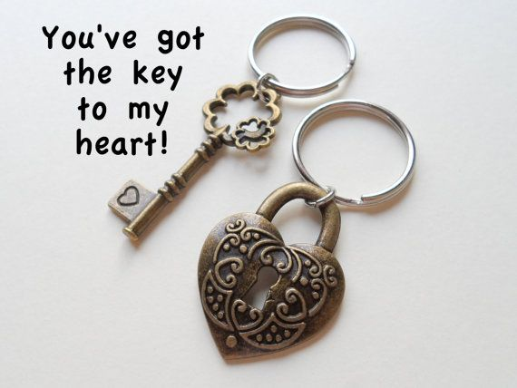 Bronze Key Lock Keychain Set Couples Keychains 8th Year Etsy Keychain Set Keychain Year Anniversary Gifts