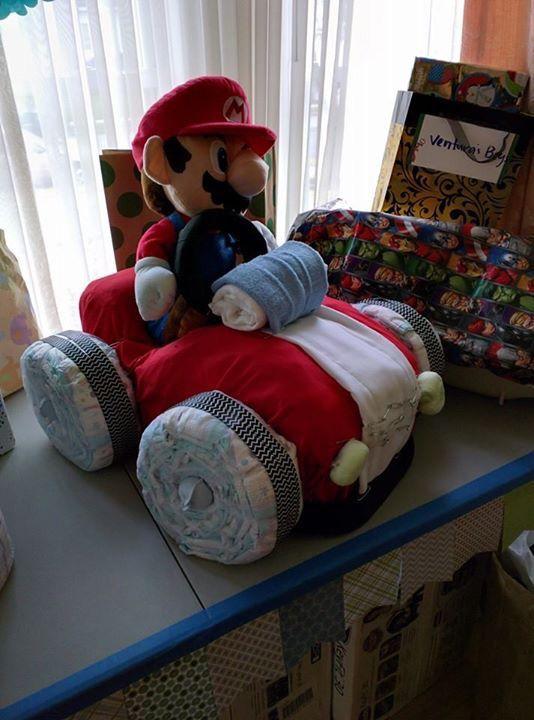 Super Mario Diaper Cake Baby Shower Mario Baby Shower