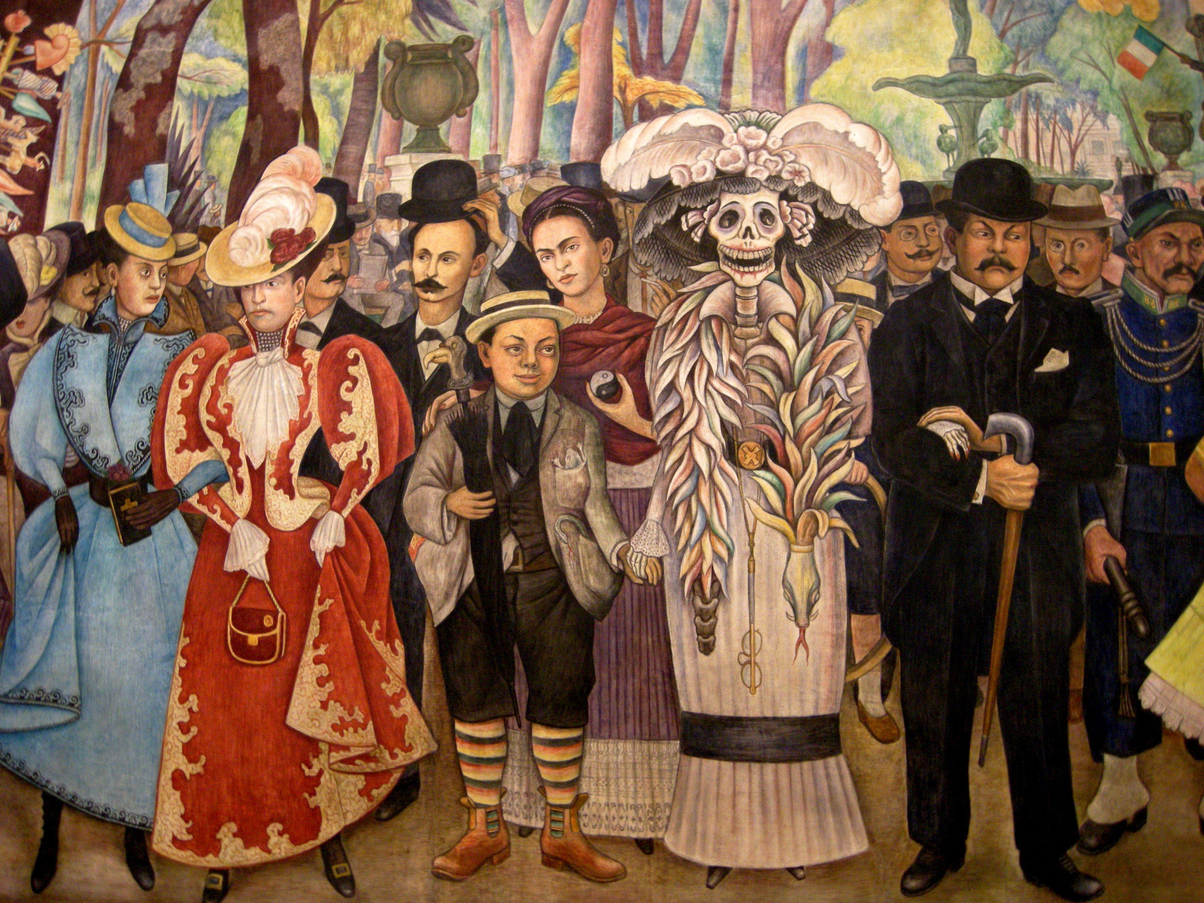 Diego Rivera Fragmento Mural Con Imagenes Frida Kahlo Diego