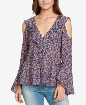 22f9617a86d8 William Rast Ruffled Cold-Shoulder Blouse - Blue XXL | Products ...