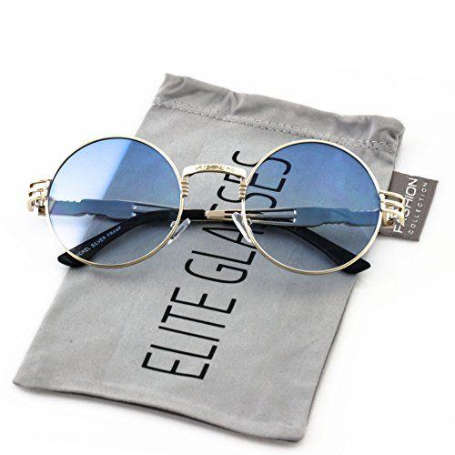 46103b4bf7 Elite Glasses Elite John Lennon Round Sunglasses Steampunk Metal Spring  Frame Groovy Lens Color