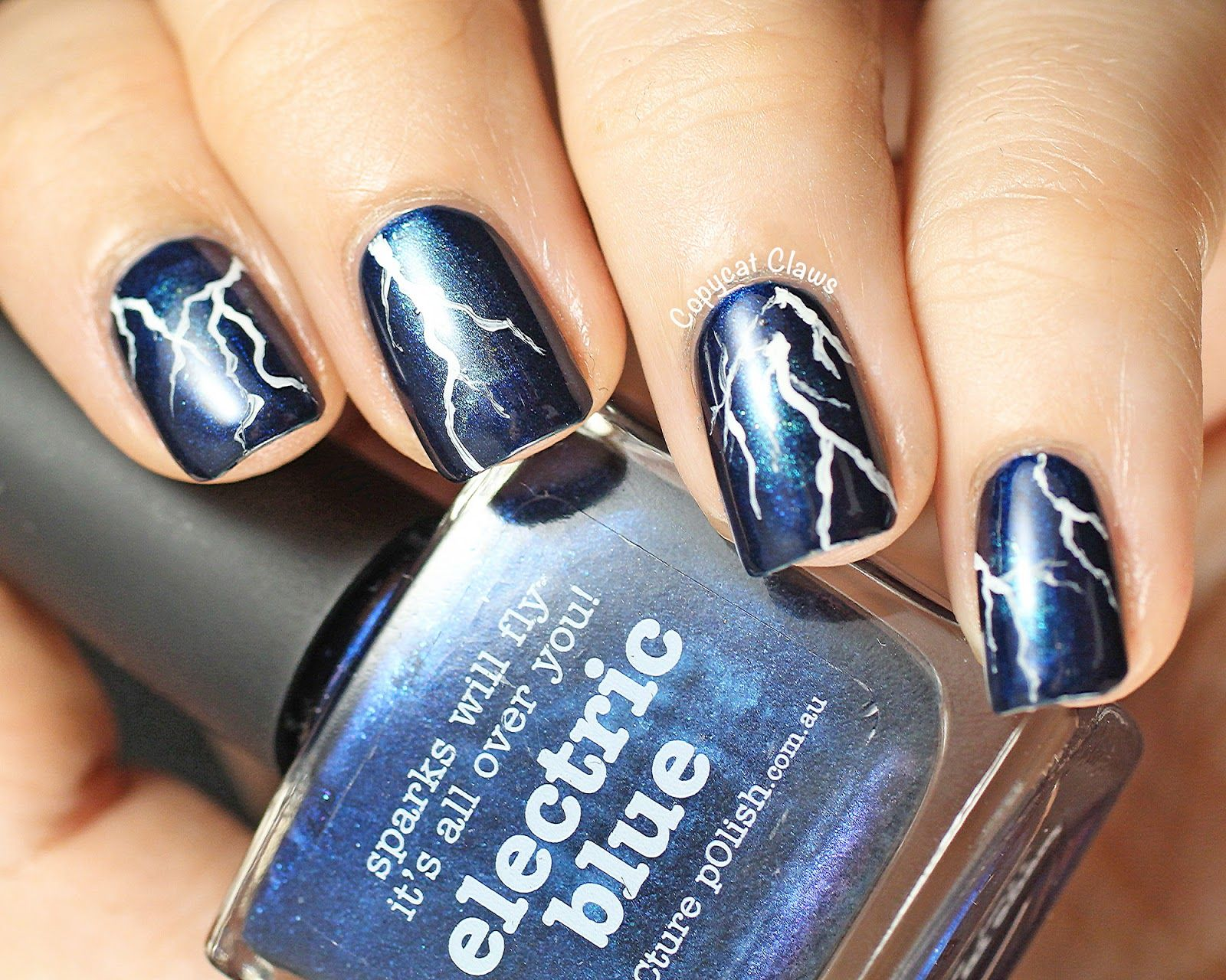 copycat claws lightning nail art