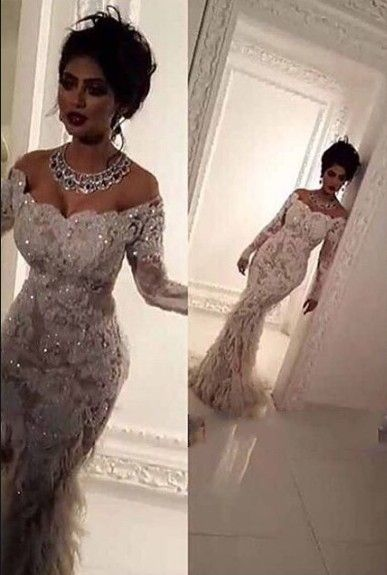 Luxury Lace Appliques Bling Bridal Gowns Elegant Feathers Mermaid