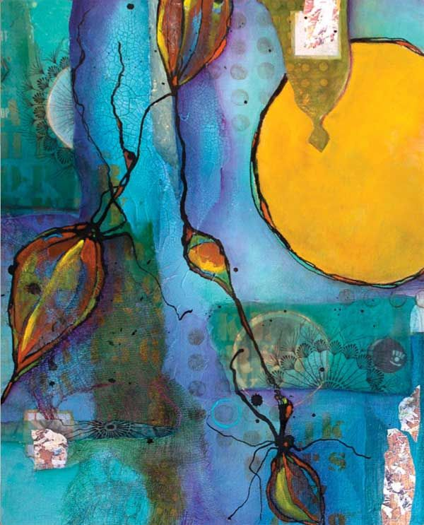 """Moon Bloom"" (mixed media on canvas board, 20×16) by Chris Cozen #acrylic #art"