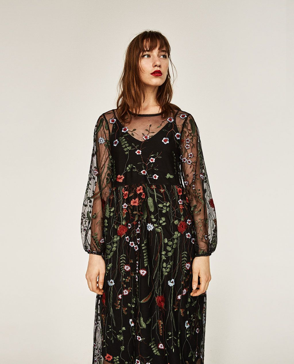 Image 4 Of Long Floral Embroidered Dress From Zara Sheer Floral Dress Embroidered Dress Embroidered Tulle Dress