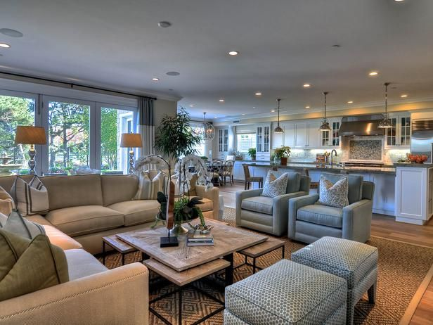 Spacious Family Room With Soothing Decor Open Concept Living