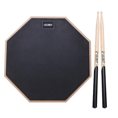 LOLUNUT 12 Inch Silent Drum Pad Dumb Drum Beginner Rubber Practice Pad with 5A Drum Stic