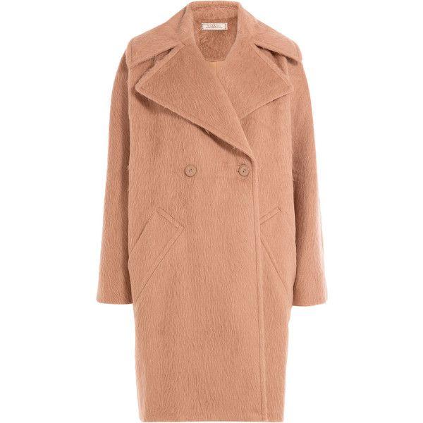 Nina Ricci Alpaca Coat ($805) ❤ liked on Polyvore featuring outerwear, coats, jackets, nina ricci, brown, fuzzy coat, nina ricci coat, alpaca wool coats and pink cocoon coat