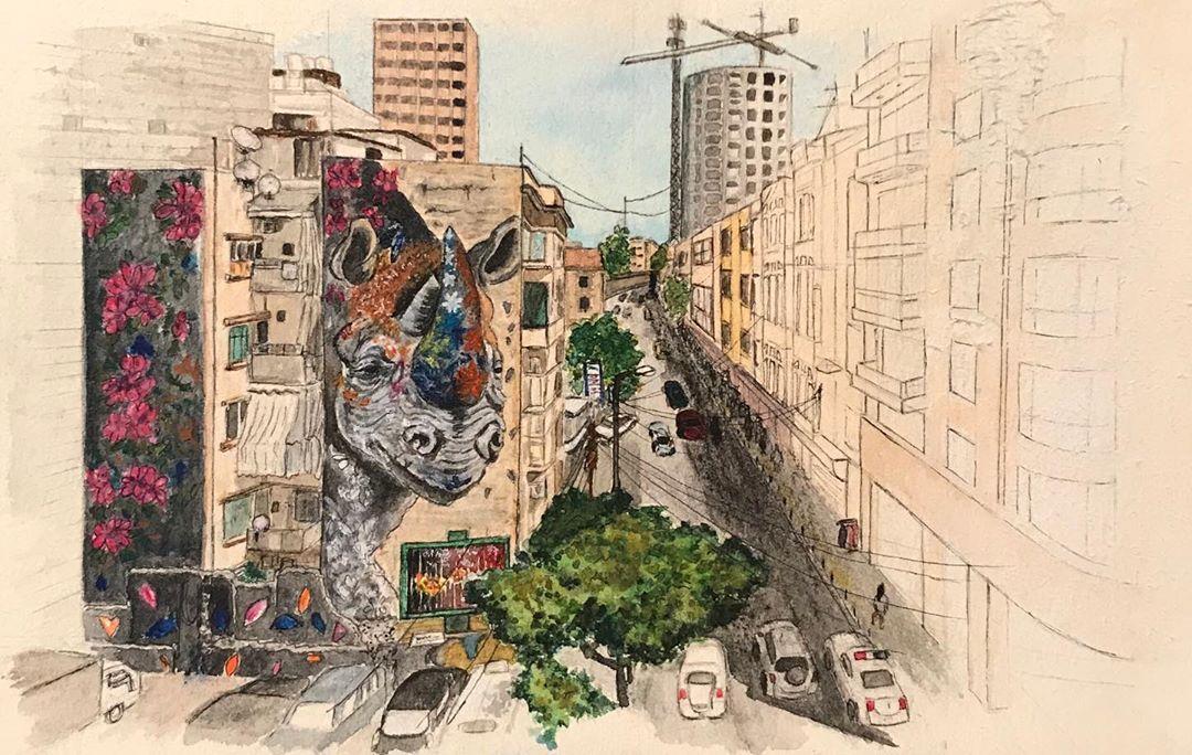 𝙱𝚎𝚒𝚛𝚞𝚝. . .  #croquis#aquarelle#watercolor#liban#beyrouth#beirutstreet#rhino#ernestomaranje#beirutstreetart#mywork#artwork#instaartwork#carnetdevoyage#instaart#nofilter