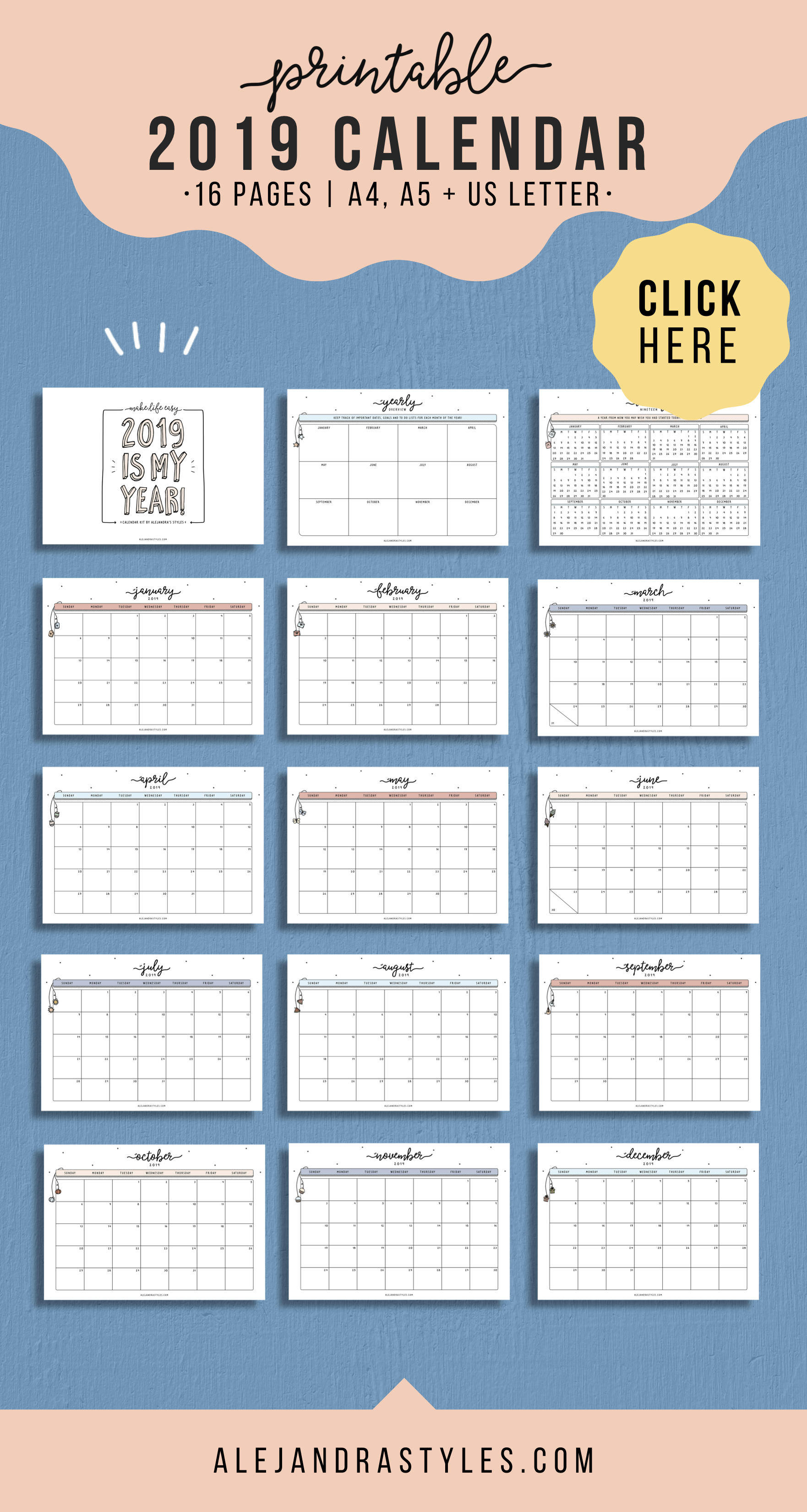 2021 Calendar Printable Planner January 2021 December 2021 Etsy Calendar Printables Printable Planner Monthly Calendar Printable