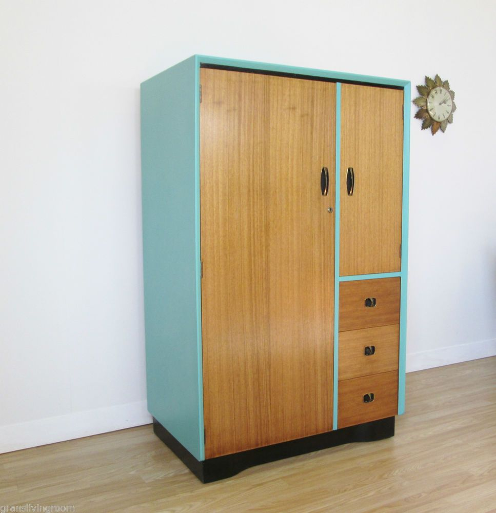 Beautility 1950 39 s tall boy wardrobe hall coat cupboard retro vintage mid century master for Schlafzimmerschrank vintage